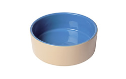 "LB-493 6"" BLUE & BEIGE DOG BOWL"